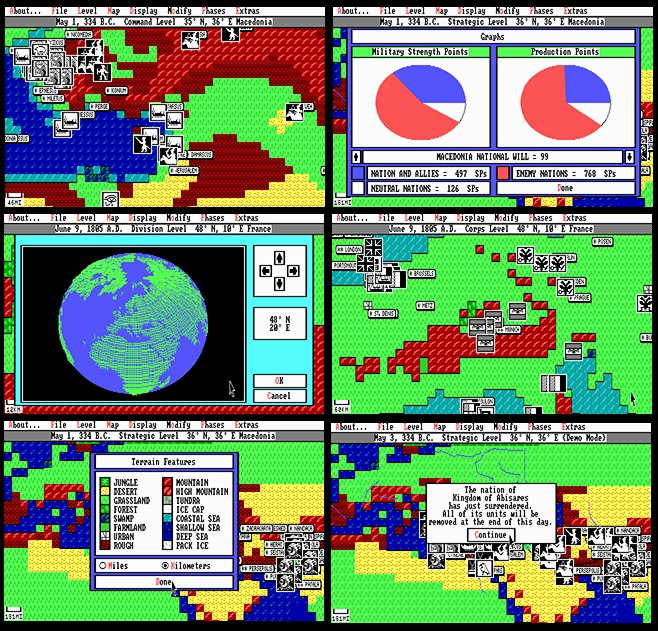 UMS II: Nations at War screen shots from the MS DOS version. Click to enlarge.