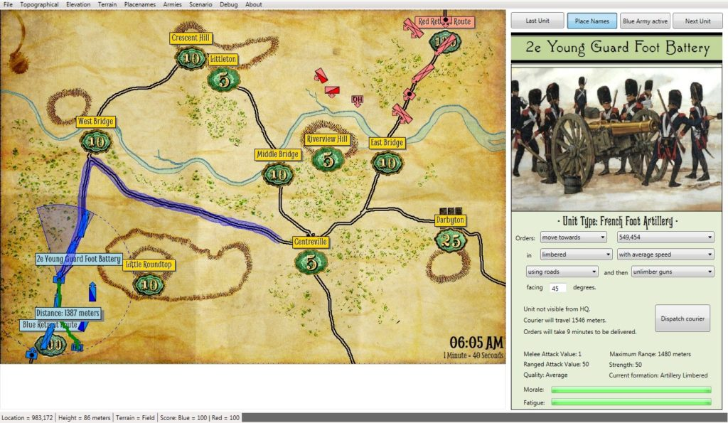 Screen capture showing one method of displaying information about a unit. In this case the stored values include Melee attack value, maximum range, ranged attack value, strength, unit quality, formation, morale and fatigue. Click to enlarge.