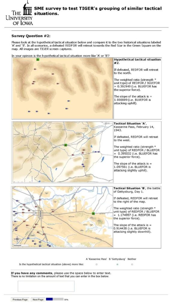 An example of the blind survey questions asked of SMEs: is the hypothetical battlefield situation on the top more like the historical battlefield in the middle (Kasserine Pass) or the historical battlefield at the bottom (Gettysburg). Click to enlarge.